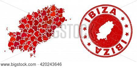 Collage Ibiza Island Map Composed With Red Love Hearts, And Rubber Seal Stamp. Vector Lovely Round R