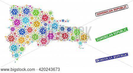 Vector Contagious Collage Dominican Republic Map, And Grunge Dominican Republic Stamps. Vector Color