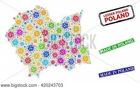 Vector Coronavirus Collage Lesser Poland Voivodeship Map, And Grunge Made In Poland Seals. Vector Mu