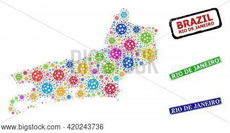 Vector Viral Mosaic Rio De Janeiro State Map, And Grunge Rio De Janeiro Badges. Vector Colorful Rio