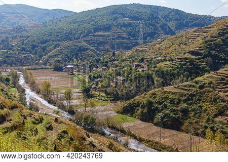 Chinese Village In The Mountains. Yunnan Province