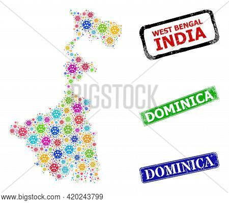 Vector Bacterium Collage West Bengal State Map, And Grunge Dominica Seals. Vector Vibrant West Benga