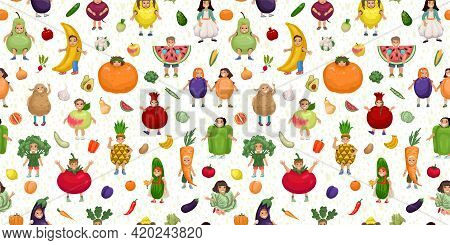 Kids In Fruits And Vegetables Costumes Seamless Pattern, Kids Design, Fruit Carnival, Kids Theater,