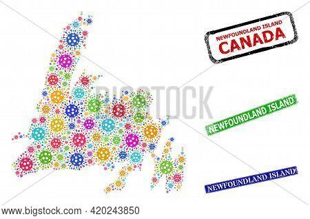 Vector Viral Collage Newfoundland Island Map, And Grunge Newfoundland Island Seal Stamps. Vector Col