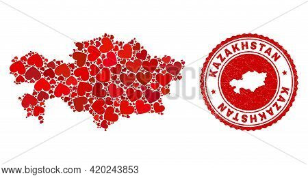 Collage Kazakhstan Map Composed With Red Love Hearts, And Grunge Badge. Vector Lovely Round Red Rubb