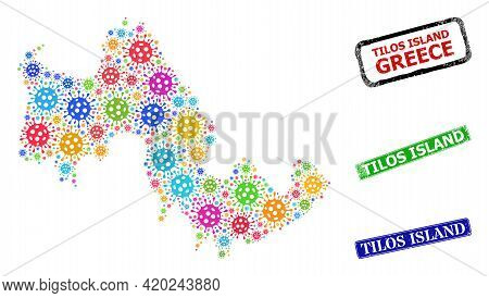 Vector Virus Collage Tilos Island Map, And Grunge Tilos Island Seals. Vector Vibrant Tilos Island Ma