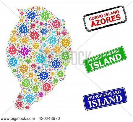 Vector Virus Collage Corvo Island Map, And Grunge Prince Edward Island Stamps. Vector Colored Corvo
