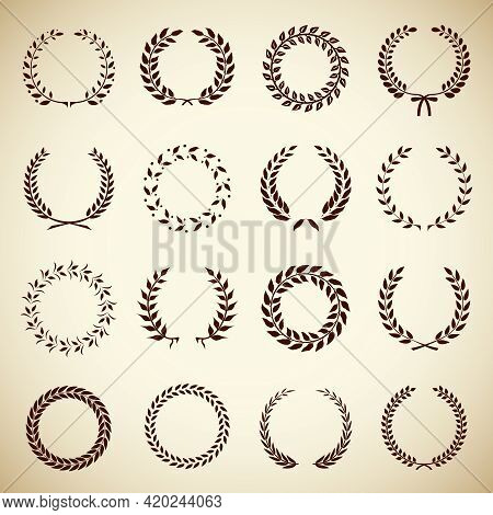 Collection Of Sixteen Circular Vintage Laurel Wreaths For Use As Design Elements In Heraldry  On An