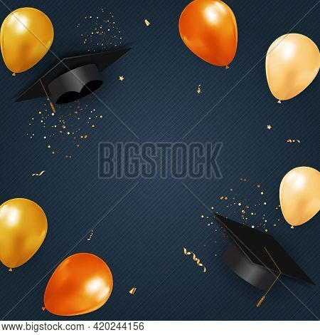 Graduation Class Party Blue Background With Graduation Cap Hat And Confetti. Vector Illustration
