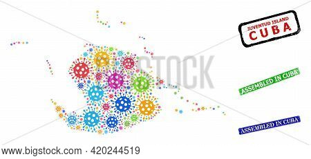 Vector Contagious Mosaic Juventud Island Map, And Grunge Assembled In Cuba Seals. Vector Colorful Ju