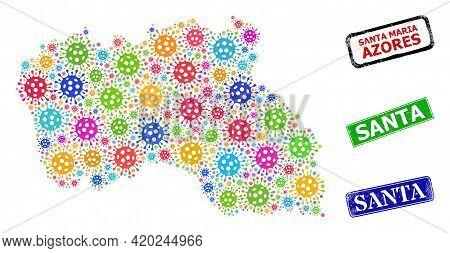 Vector Infection Collage Santa Maria Island Map, And Grunge Santa Seals. Vector Colorful Santa Maria