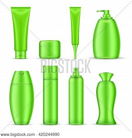 Cosmetics Package Icon Set Green Color Realistic Tubes For Creams Shampoos Emulsions Vector Illustra