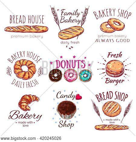 Bread House Logo Set With Bread House Premium Bakery Bread Shop Descriptions Par Example Vector Illu
