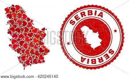 Collage Serbia Map Composed With Red Love Hearts, And Unclean Seal. Vector Lovely Round Red Rubber S