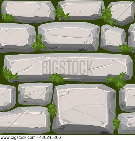 Cobble Stones Seamless Texture With Grass, Gray Vintage Road Pattern For Wallpaper.