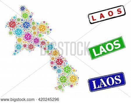 Vector Virulent Mosaic Laos Map, And Grunge Laos Seals. Vector Multi-colored Laos Map Mosaic, And La