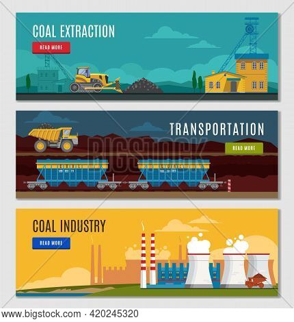 Three Colorful Mining Industry Horizontal Banners Set With Flat Factory Mine Vehicles Images Read Mo