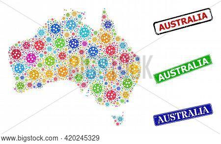 Vector Coronavirus Mosaic Australia Map, And Grunge Australia Seals. Vector Multi-colored Australia