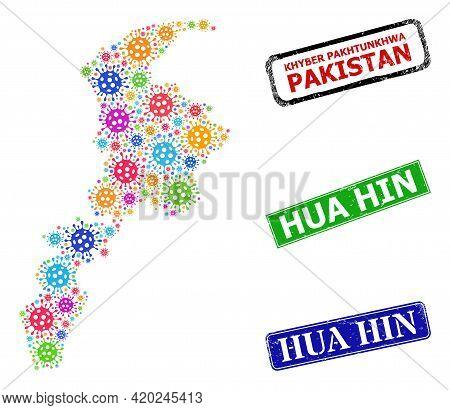 Vector Covid-2019 Mosaic Khyber Pakhtunkhwa Province Map, And Grunge Hua Hin Badges. Vector Multi-co