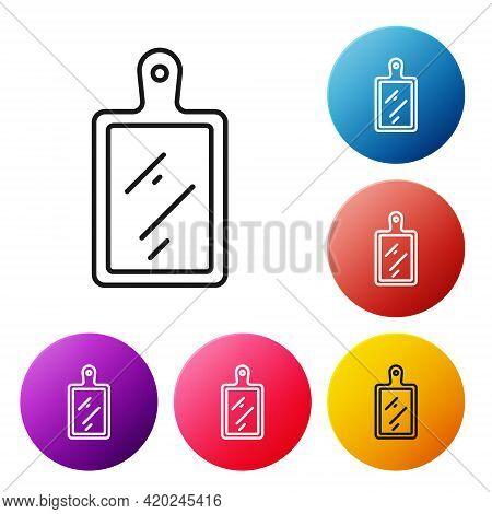 Black Line Cutting Board Icon Isolated On White Background. Chopping Board Symbol. Set Icons Colorfu