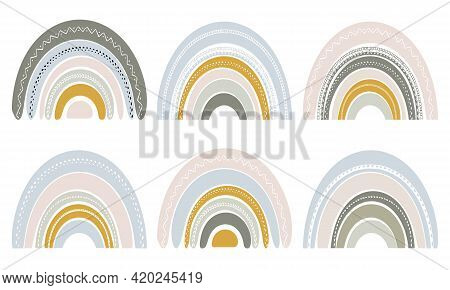 Set Of Cute Rainbows In Scandinavian Style. Watercolor Rainbow Isolated On A White Background. Paste