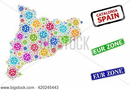 Vector Bacterium Collage Catalonia Map, And Grunge Eur Zone Seals. Vector Colored Catalonia Map Mosa
