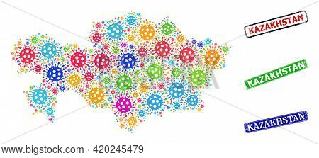 Vector Coronavirus Collage Kazakhstan Map, And Grunge Kazakhstan Stamps. Vector Colorful Kazakhstan