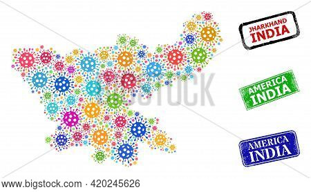 Vector Contagious Collage Jharkhand State Map, And Grunge America India Seals. Vector Colored Jharkh