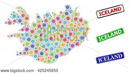 Vector Viral Collage Iceland Map, And Grunge Iceland Seal Stamps. Vector Vibrant Iceland Map Collage