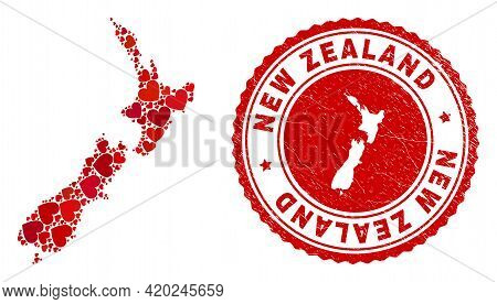 Collage New Zealand Map Created With Red Love Hearts, And Rubber Stamp. Vector Lovely Round Red Rubb