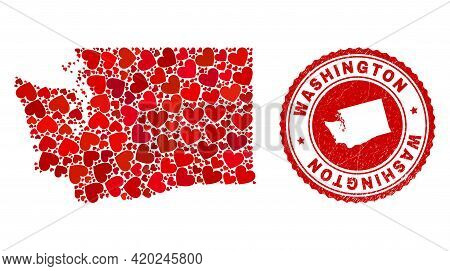 Mosaic Washington State Map Created With Red Love Hearts, And Rubber Stamp. Vector Lovely Round Red
