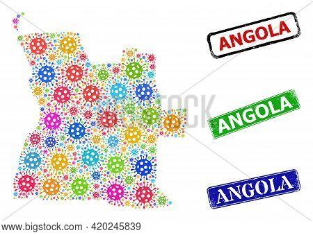 Vector Coronavirus Mosaic Angola Map, And Grunge Angola Seal Stamps. Vector Vibrant Angola Map Mosai