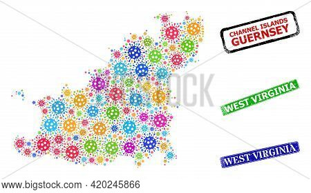 Vector Virulent Collage Guernsey Island Map, And Grunge West Virginia Stamps. Vector Colored Guernse