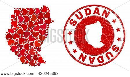 Mosaic Sudan Map Designed With Red Love Hearts, And Unclean Stamp. Vector Lovely Round Red Rubber St