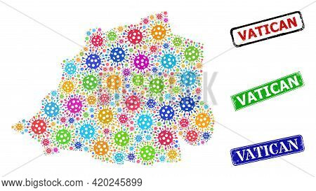 Vector Infection Mosaic Vatican Map, And Grunge Vatican Seals. Vector Colored Vatican Map Mosaic, An