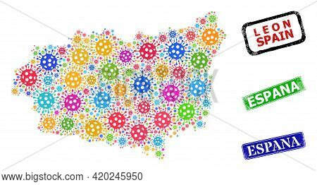Vector Infection Mosaic Leon Province Map, And Grunge Espana Seal Stamps. Vector Colorful Leon Provi