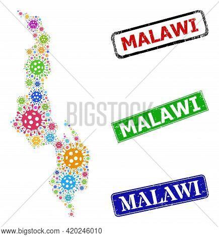 Vector Bacilla Mosaic Malawi Map, And Grunge Malawi Seal Stamps. Vector Colored Malawi Map Mosaic, A
