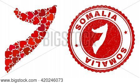 Mosaic Somalia Map Created With Red Love Hearts, And Unclean Seal Stamp. Vector Lovely Round Red Rub