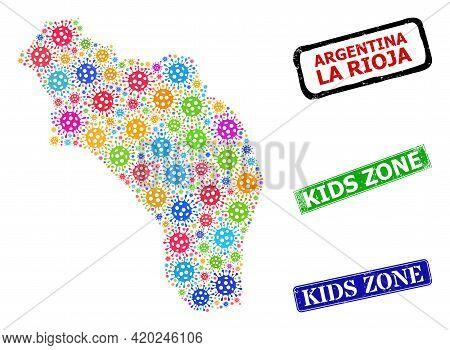 Vector Bacilla Collage La Rioja Of Argentina Map, And Grunge Kids Zone Stamps. Vector Multi-colored
