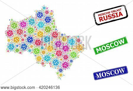 Vector Bacilla Collage Moscow Region Map, And Grunge Moscow Seals. Vector Multi-colored Moscow Regio