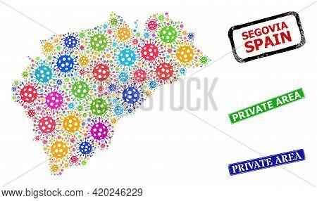 Vector Cell Collage Segovia Province Map, And Grunge Private Area Seals. Vector Multi-colored Segovi