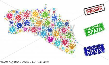 Vector Virulent Mosaic Menorca Island Map, And Grunge Mallorca Spain Seal Stamps. Vector Colored Men