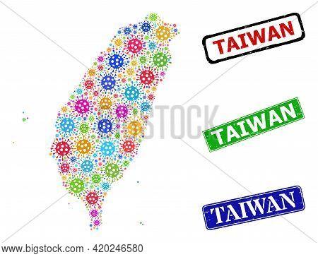 Vector Infection Mosaic Taiwan Map, And Grunge Taiwan Seal Stamps. Vector Colorful Taiwan Map Mosaic