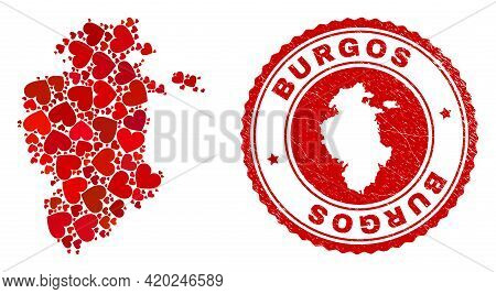 Mosaic Burgos Province Map Composed With Red Love Hearts, And Corroded Seal. Vector Lovely Round Red