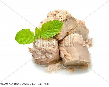 Canned Tuna Chunk In Vegetable Oil Isolated On White Background
