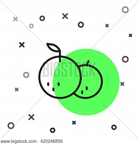 Black Line Tangerine Icon Isolated On White Background. Merry Christmas And Happy New Year. Vector