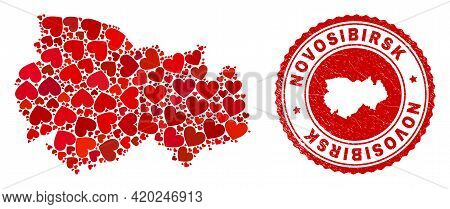 Collage Novosibirsk Region Map Created With Red Love Hearts, And Scratched Stamp. Vector Lovely Roun