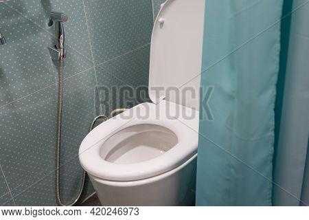 Toilet Flush Ceramic Bowl With Green Curtain In Bathroom.