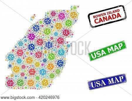 Vector Covid-2019 Mosaic Bowen Island Map, And Grunge Usa Map Stamps. Vector Colored Bowen Island Ma