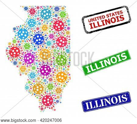 Vector Virulent Mosaic Illinois State Map, And Grunge Illinois Seals. Vector Colored Illinois State